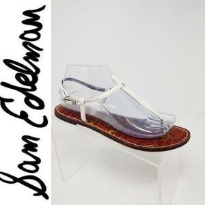 SAM EDELMAN GIGI White Thong T Strap Patent Leathe